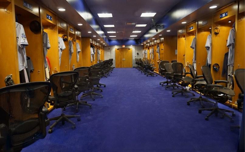 The visitors' locker room set for Dodger Stadium.